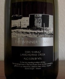 WBW # 30:  Winner's Tank 2005 Shiraz Langhorne Creek