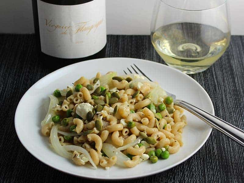Viognier de Flaugergues wine paired with pasta, peas and feta cheese dish.