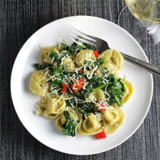 Quick Tortellini with Spinach & Garlic