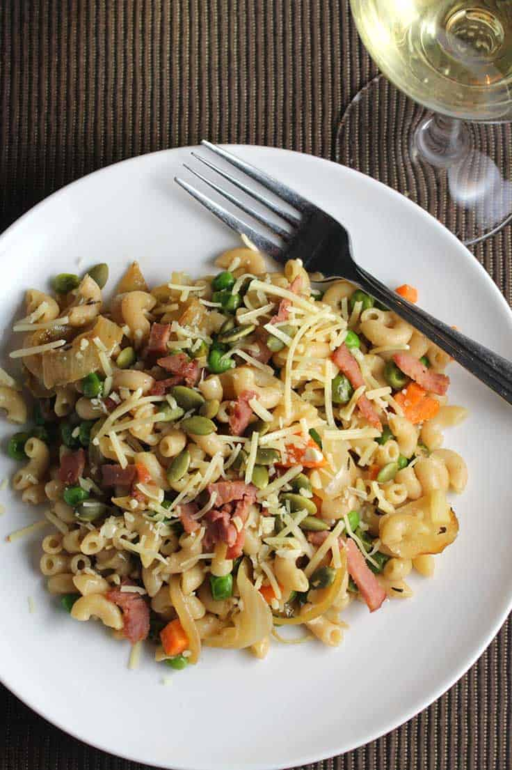 "Pasta with Pancetta, Peas and Onions recipe makes for a tasty ""Frugal Friday"" meal option."