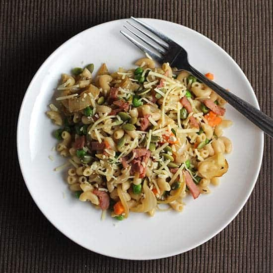 Pasta with Pancetta, Peas and Onions for a quick and tasty meal.