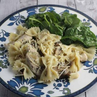 Chicken Mushroom Bow Tie Pasta with Garlic Cream Sauce