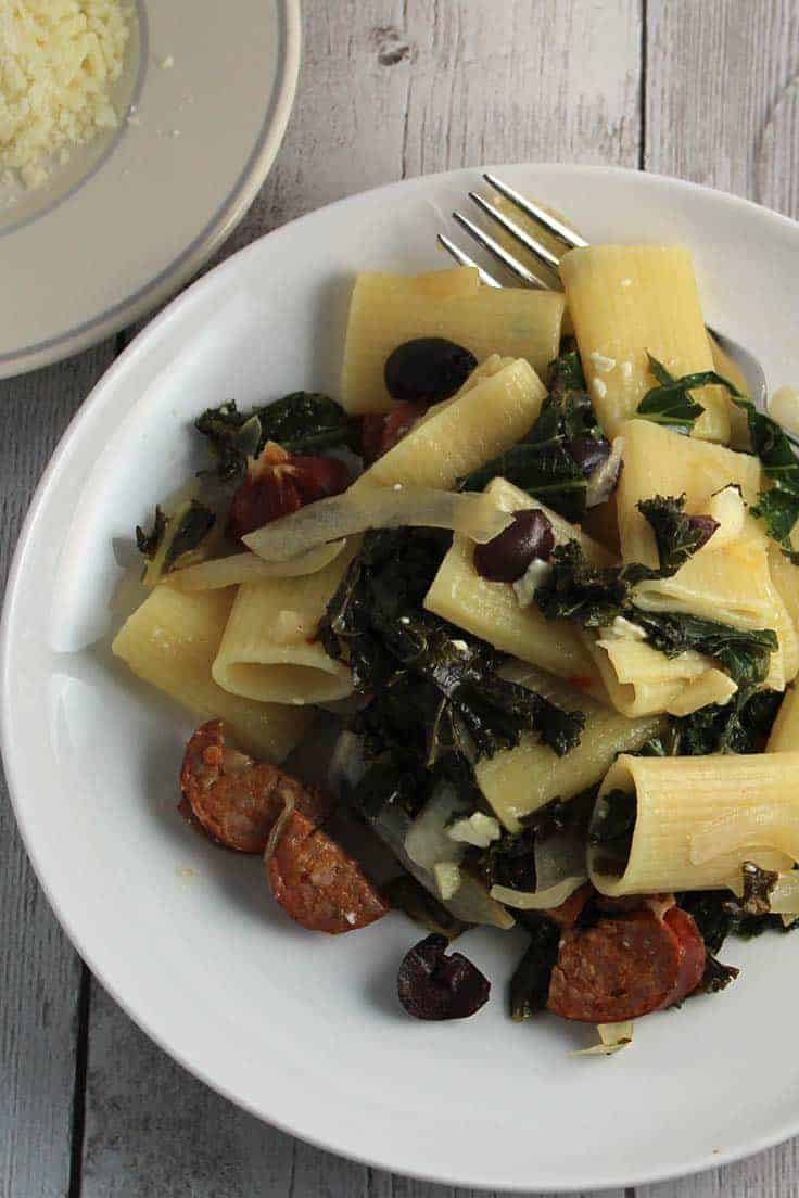 Rigatoni with Sausage and Kale recipe is a healthy and flavorful way to enjoy some greens and pasta.