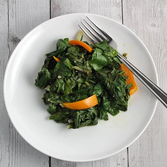 Sautéed Swiss Chard with Garlic and Bell Peppers.