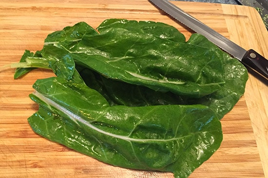 Swiss chard on cutting board