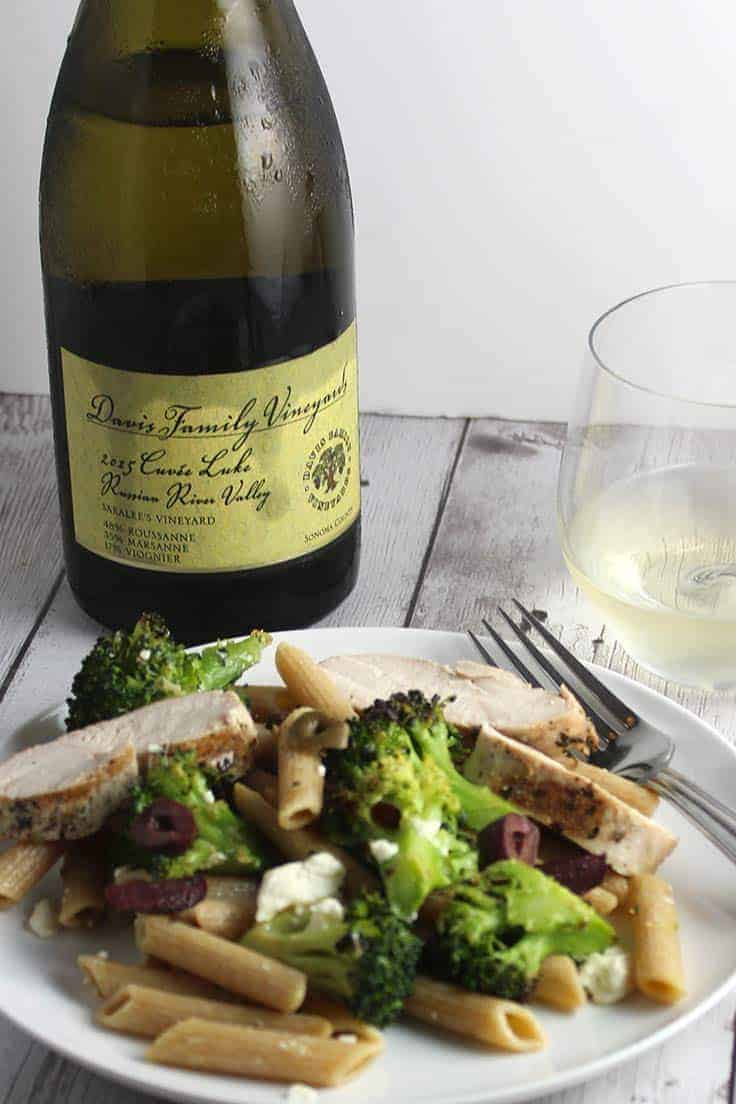 A white Rhone grape blend from Davis Family Vineyards pairs well with Grilled Chicken Broccoli and Garlic Penne.