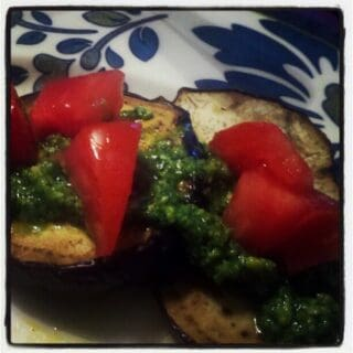 CSA Week #6: Grilled Eggplant with Pesto & Diced Tomatoes