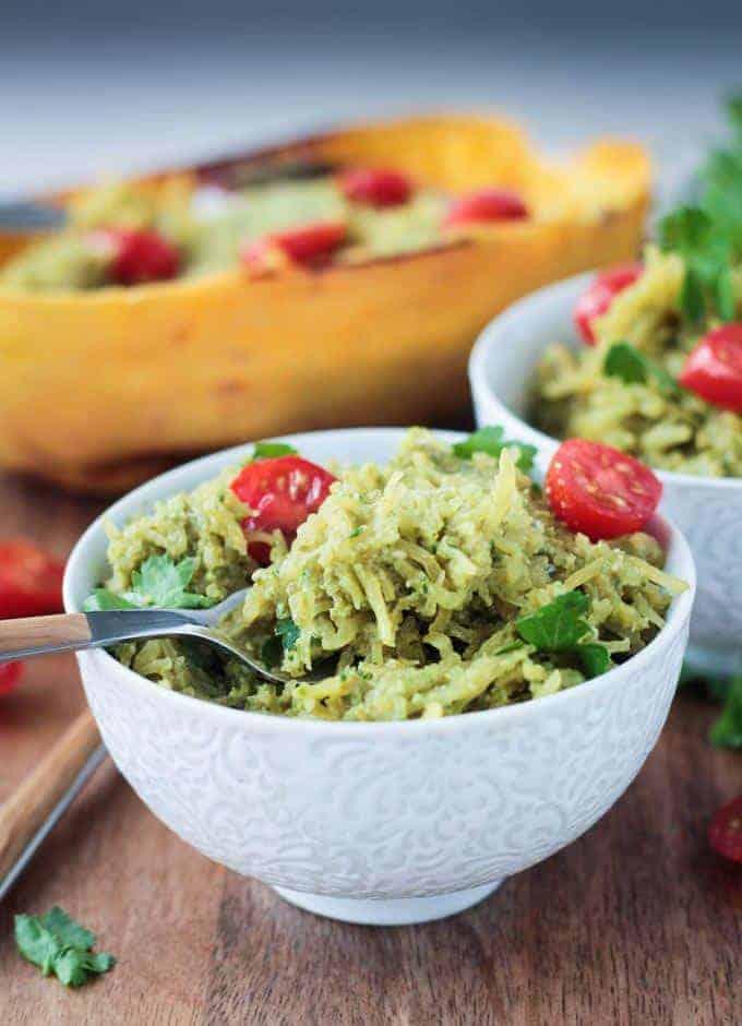 Pesto Spaghetti Squash from Veggie Inspired, featured in kale pesto roundup.