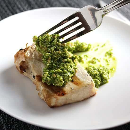 grilled swordfish with kale pesto