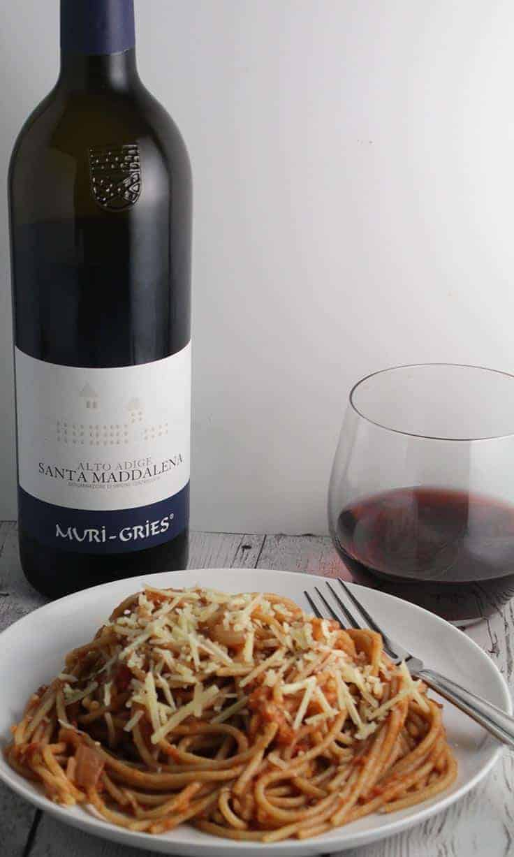 A good red wine from the Alto Adige is a great pairing for a pasta recipe from the region. #winepairing
