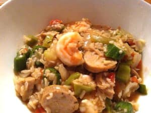 Chicken Sausage Jambalaya with Shrimp