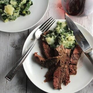 Lidia's Swiss Chard Potatoes served alongside a simple Italian style roasted sirloin steak.