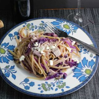 Linguine with Red Cabbage and a Dolcetto