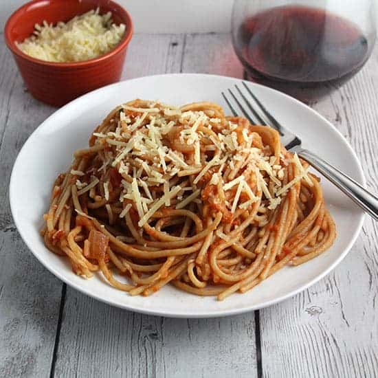Lidia's Spaghetti with Tomato Apple Sauce recipe.