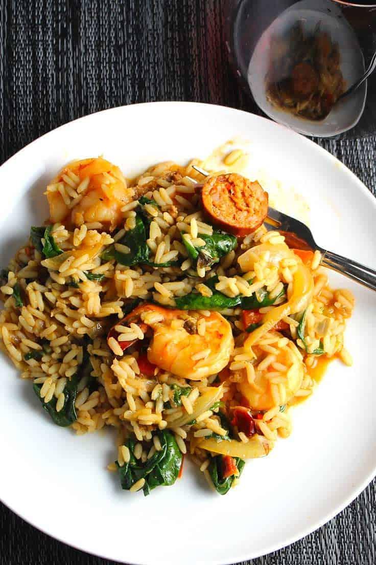 Healthier Sausage and Shrimp Jambalaya recipe.