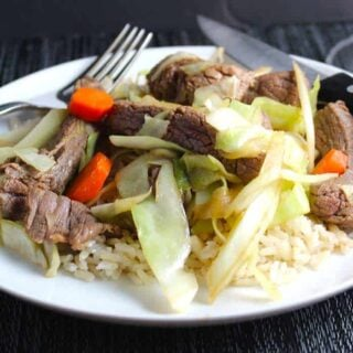 Stir Fried Steak and Cabbage with a Nice Zin