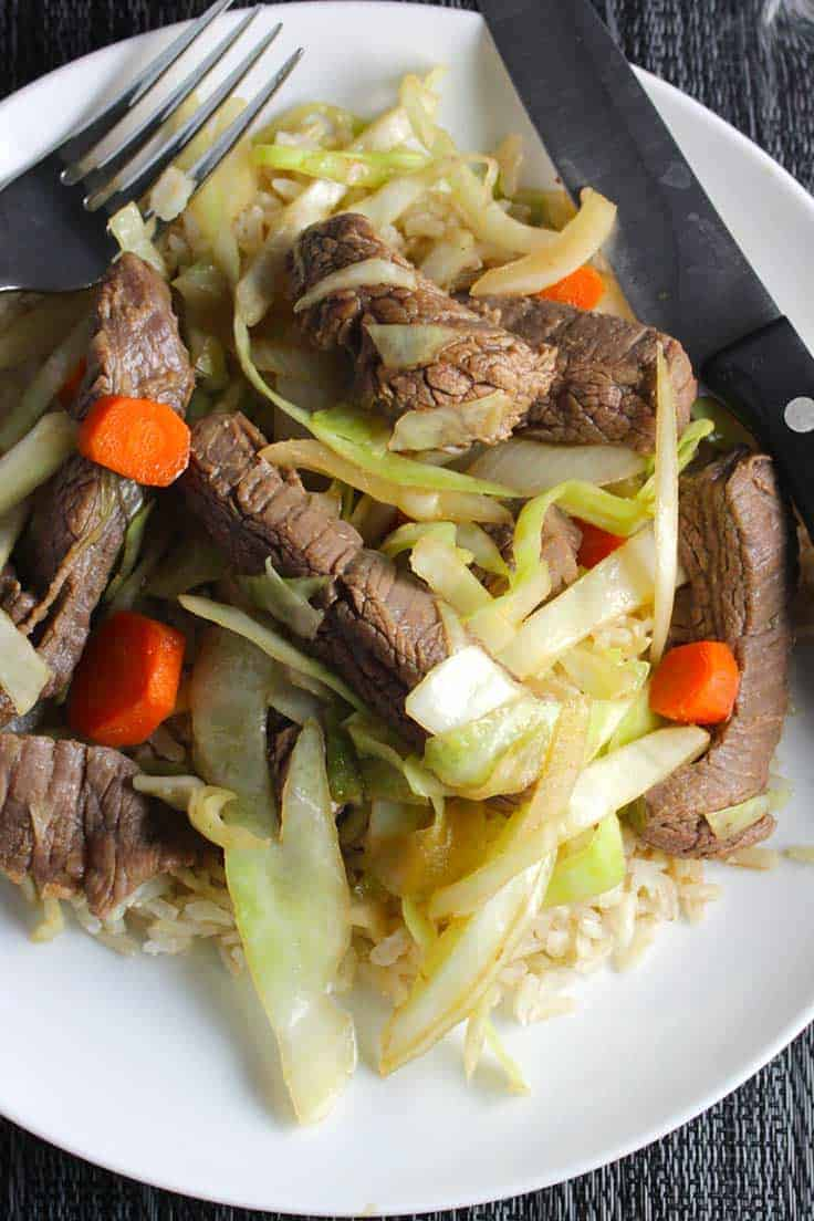 stir-fried steak and cabbage is an easy and tasty recipe using lean beef.