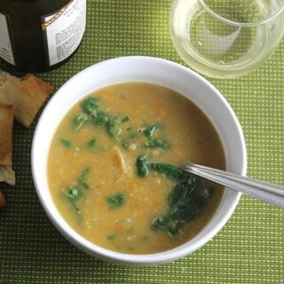 spicy lentil soup with swiss chard