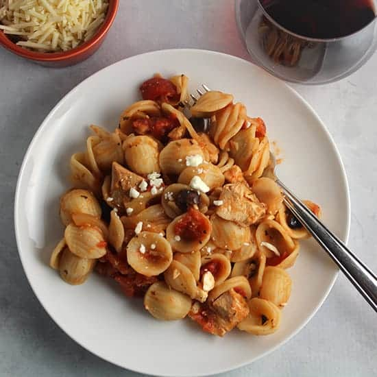 Leftover Chicken Pasta Sauce recipe with tomatoes and onions