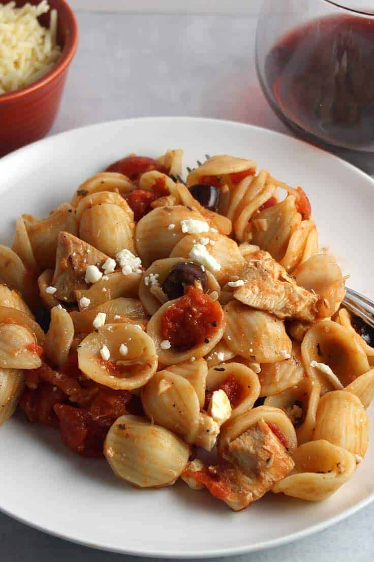 Leftover Chicken Pasta Sauce with tomatoes and onions. Such an easy and tasty recipe!