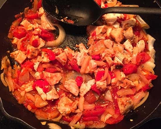 leftover chicken added to skillet with onions and tomatoes to make pasta sauce.