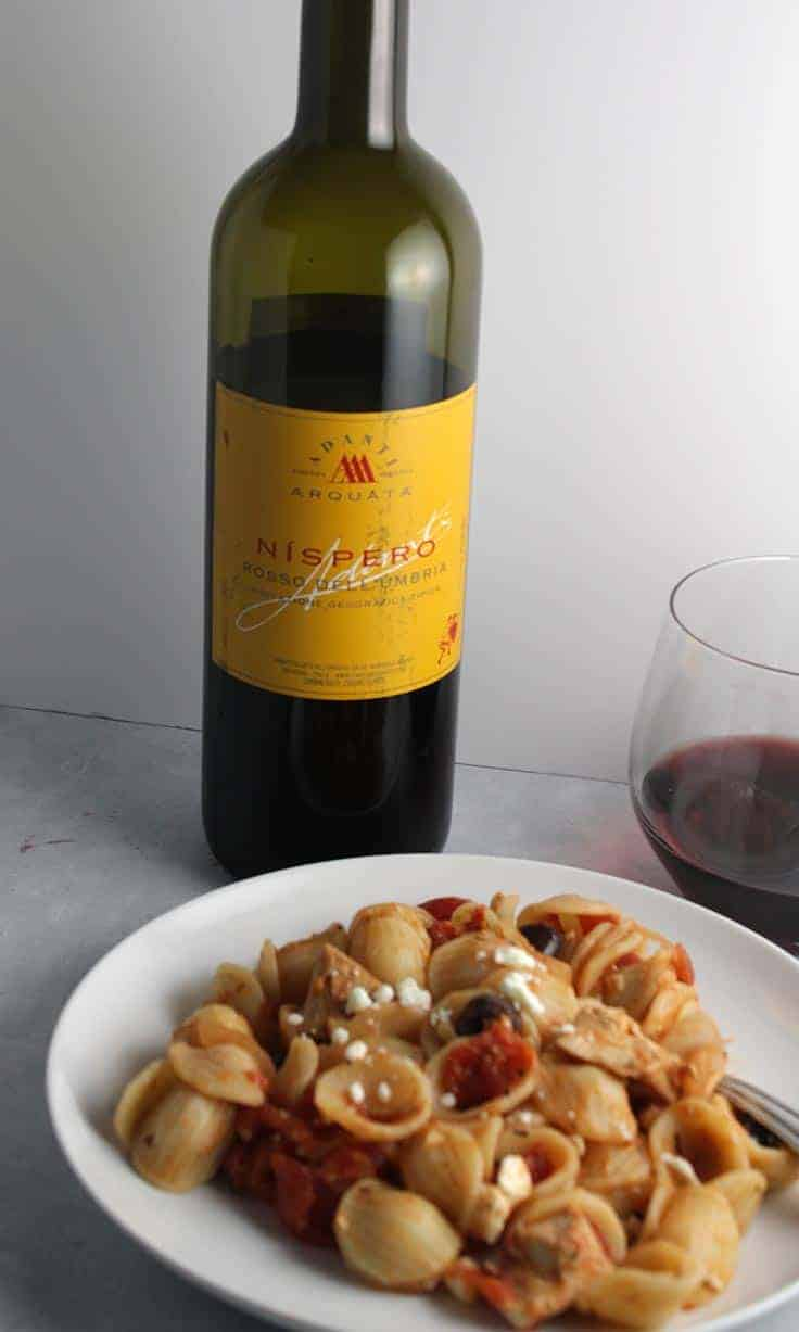 Nispero Rosso Dell'Umbria is a good everyday Italian red wine. Pairs well with leftover chicken pasta sauce.
