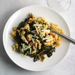 Pasta with Greens, Gruyere and Bacon