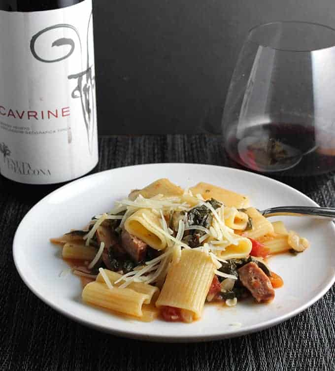 Rigatoni with Kale and Sausage, paired with Tenuta la Falcona Cavrine red wine from Veneto, Italy| cookingchatfood.com