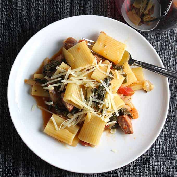Rigatoni with Kale and Sausage makes a hearty and healthy pasta dish | cookingchatfood.com