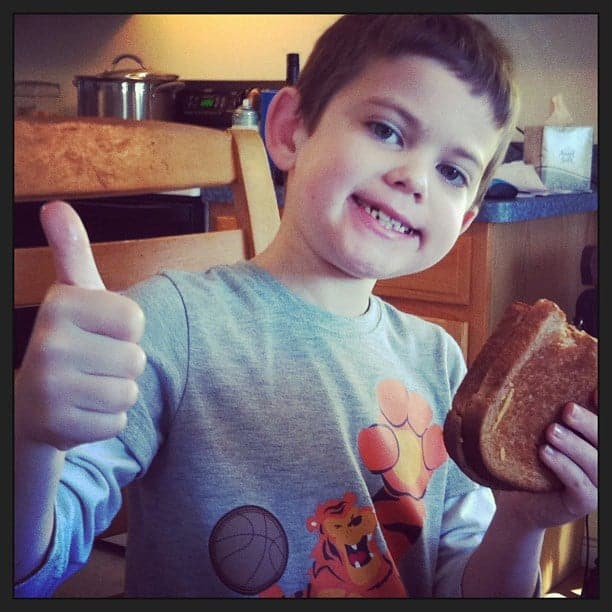 "This dairy-free grilled cheese got a ""thumbs up"" from our boy with multiple food allergies."