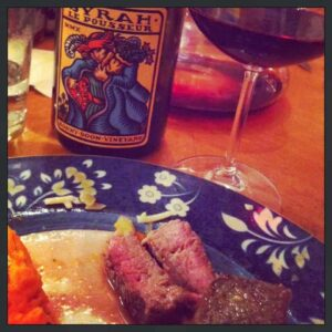Bonny Doon Syrah red wine served with with Roasted Sirloin