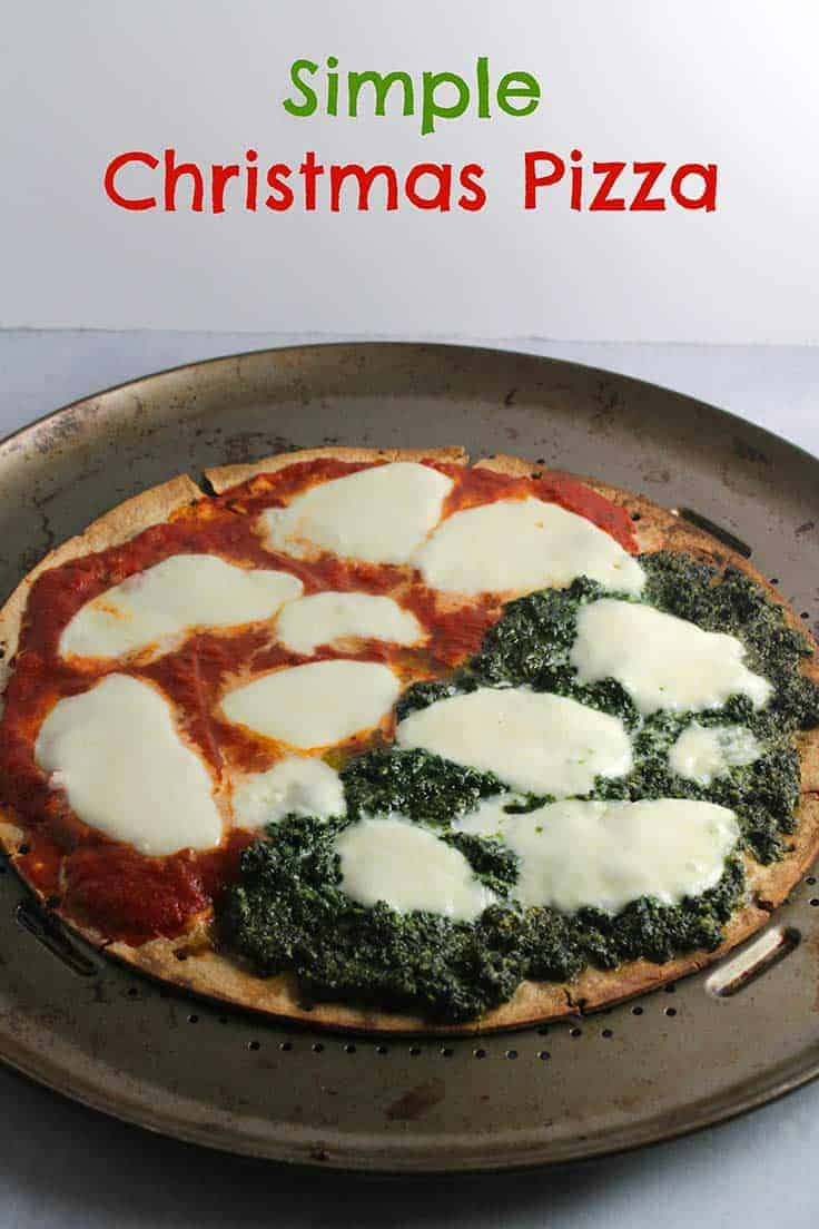 Simple Christmas Pizza with pesto and tomato sauce is an easy holiday season recipe.