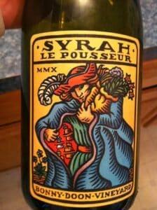 label of 2010 Bonny Doon Le Pousseur Syrah red wine