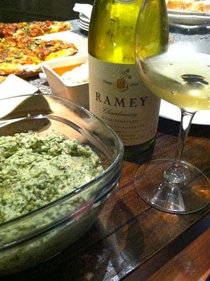artichoke dip with Ramey Chardonnay