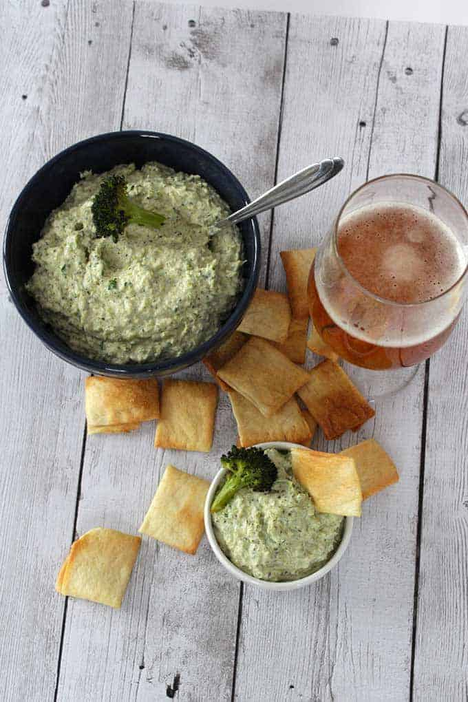 artichoke dip with roasted broccoli