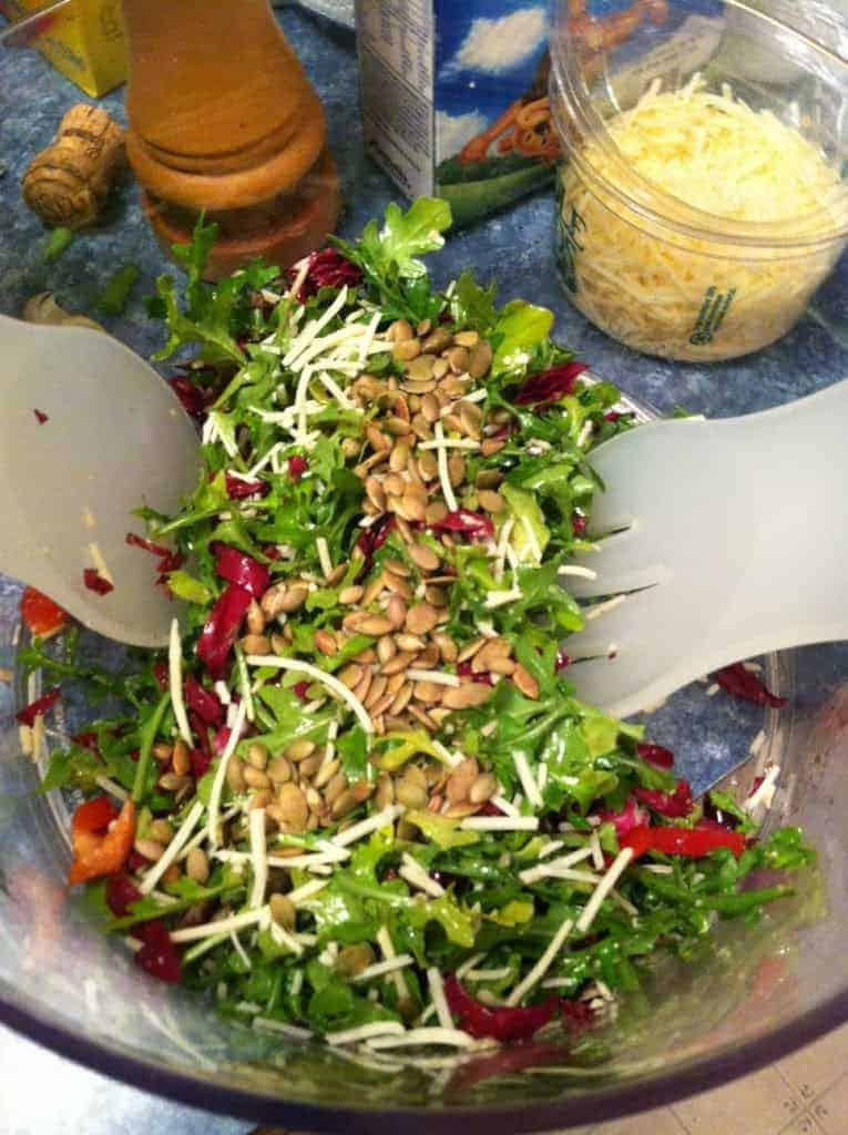 Tossing Tuscan Arugula Salad. Cooking Chat #salad recipe.