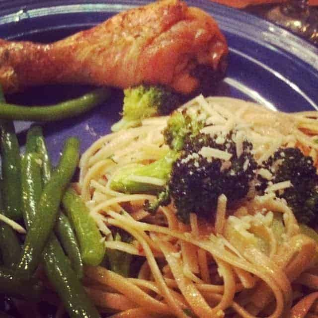 Soy Glazed Chicken Drumstick served with green beans and pasta. Easy Cooking Chat recipe!