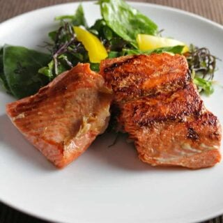 Simple Pan Seared Salmon with Ginger Soy Marinade