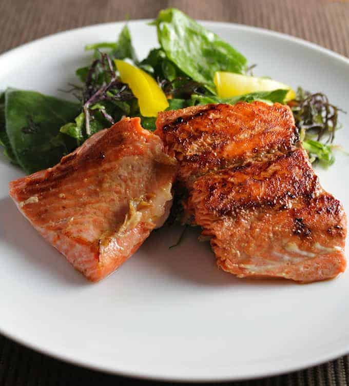 Simple Pan Seared Salmon with Soy Ginger Marinade