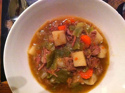 Irish Lamb Stew served for a hearty meal. Cooking Chat post with recipe and cookbook review.