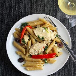 Mediterranean Chicken Pasta with Spinach and Red Peppers recipe.