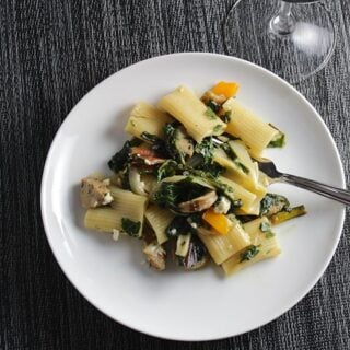 Rigatoni with Chicken Sausage and Collard Greens recipe