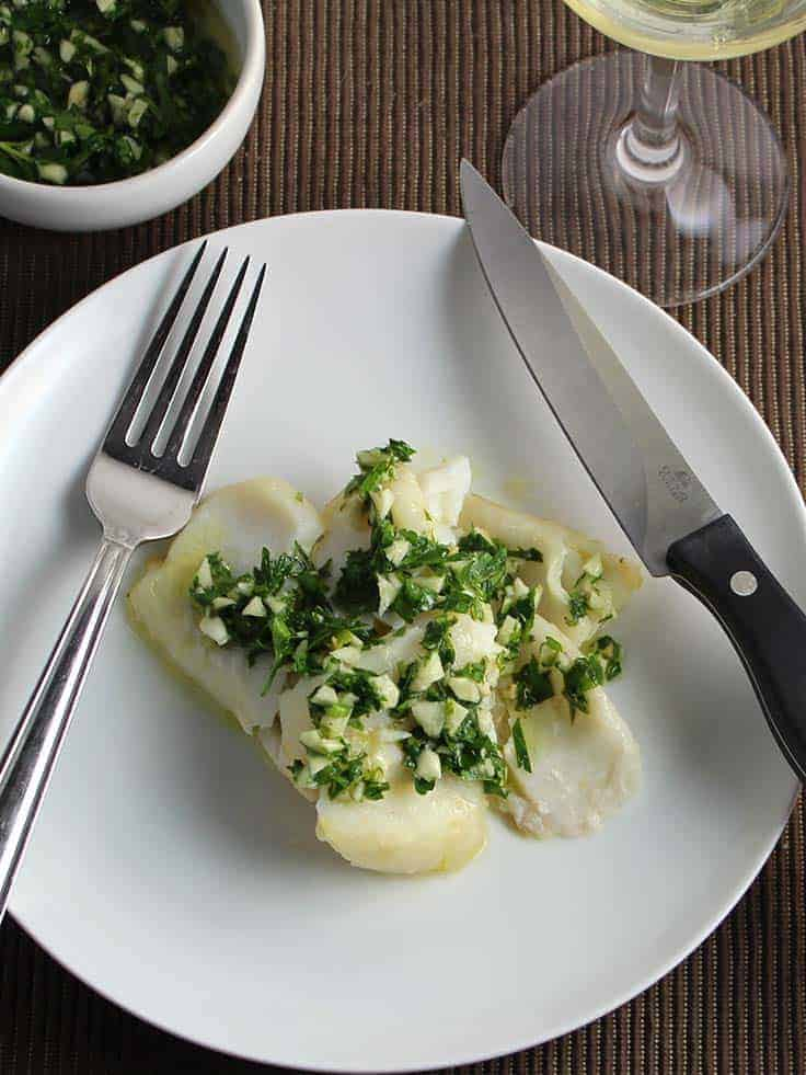 roast cod with herb pesto is an easy and healthy seafood meal.