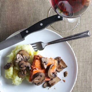 Salmon with Mixed Mushroom Sauce and Pinot Noir