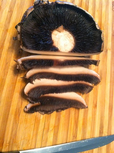 Sliced Portobello Mushroom, for a mixed mushroom sauce served over salmon. Cooking Chat recipe.