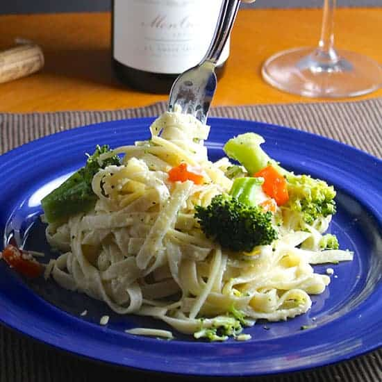 Fettuccine Primavera is a good food pairing for Pouilly-Fuisse.