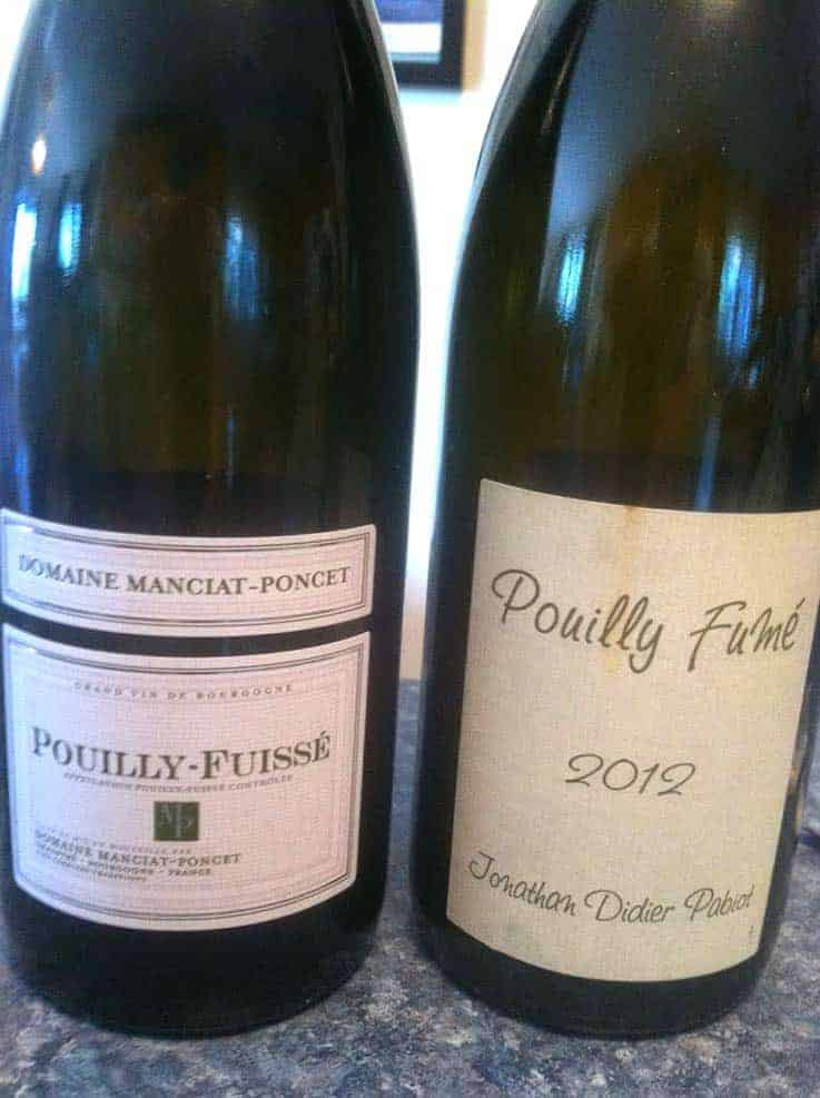 Pouilly-Fuissé and Pouilly-Fumé wine side by side