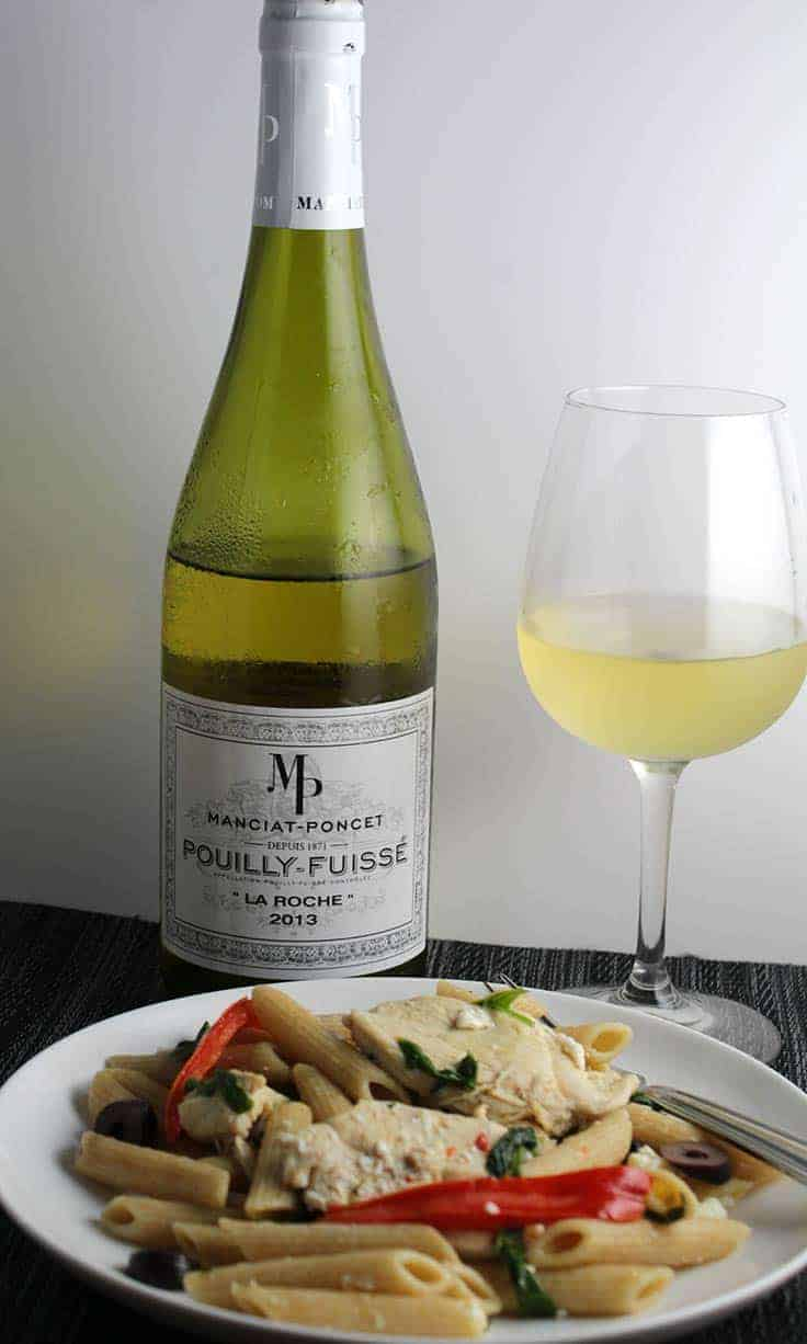 Pouilly-Fuisse wine pairs well with a variety of pasta dishes.