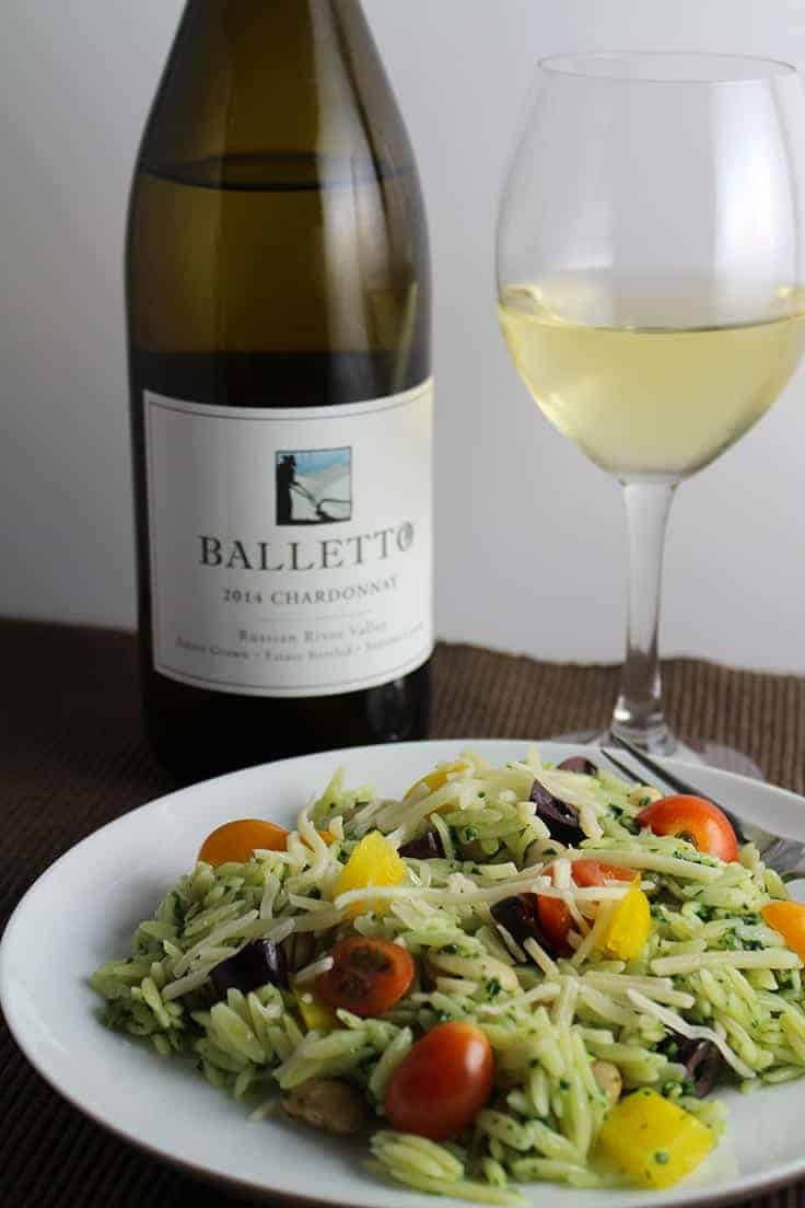 Balletto Chardonnay is a high quality wine from the Russian River Valley. We enjoyed it with kale pesto orzo salad.
