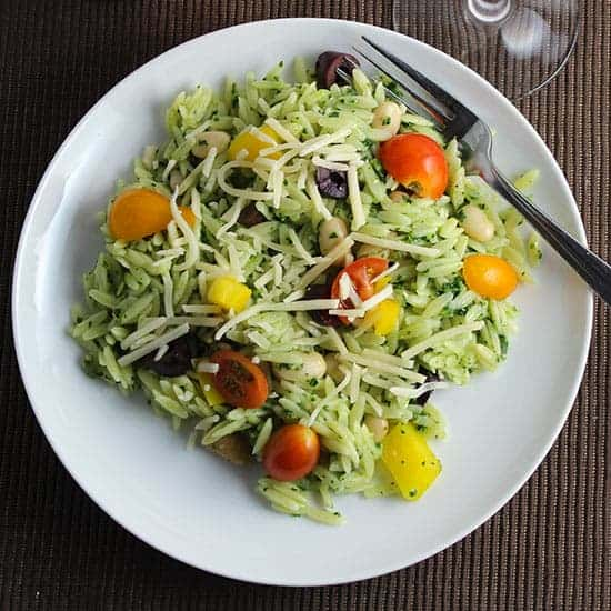 orzo salad with kale pesto